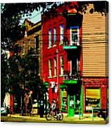 Cyclists Crossing Rue Clark Corner Wilensky Spring Street Scene Montreal Art Carole Spandau Canvas Print