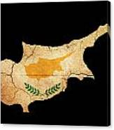 Cyprus Grunge Map Outline With Flag Canvas Print