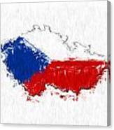 Czech Republic Painted Flag Map Canvas Print