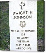 D. H. Johnson - Medal Of Honor Canvas Print