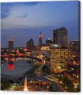 D101l Columbus Ohio Night Skyline Photo Canvas Print