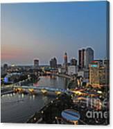 D2l448 Columbus Ohio Night Skyline Photo Canvas Print