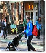 Daddy Pushing Stroller Greenwich Village Canvas Print
