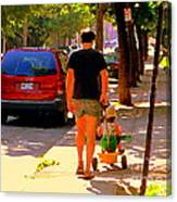 Daddy's Little Buddy Perfect Day Wagon Ride Montreal Neighborhood City Scene Art Carole Spandau Canvas Print