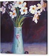 Daffodils And Cherries Canvas Print
