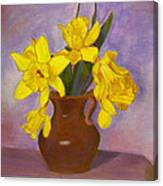 Yellow Daffodils On Purple Canvas Print