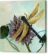 Dahlia With Dragonfly Resting Canvas Print