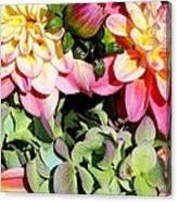 Dahlias And Hydrangeas Bouquet Canvas Print
