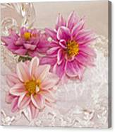 Dahlias And Lace Canvas Print