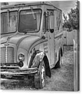 Dairy Truck - Old Rosenbergers Dairies - Black And White Canvas Print