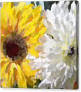 Daisies And Sunflowers - Impressionistic Canvas Print