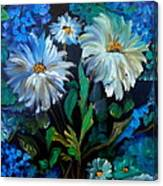 Daisies At Midnight Canvas Print