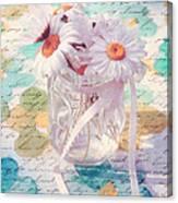 Daisies In Pot 02a - Du Bonheur En Pot Canvas Print