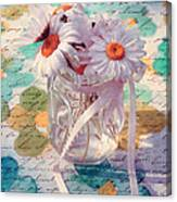 Daisies In Pot 02c - Du Bonheur En Pot Canvas Print
