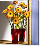 Daisies In Red Vase Canvas Print