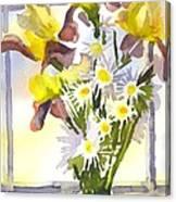 Daisies With Yellow Irises Canvas Print