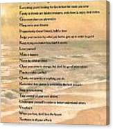 Dalai Lama A To Zen Of Life Typography On Watercolor Ocean Sunset Canvas Print