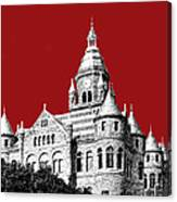 Dallas Skyline Old Red Courthouse - Dark Red Canvas Print