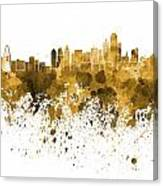 Dallas Skyline In Orange Watercolor On White Background Canvas Print
