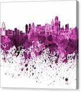 Dallas Skyline In Pink Watercolor On White Background Canvas Print