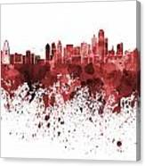 Dallas Skyline In Red Watercolor On White Background Canvas Print