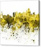Dallas Skyline In Yellow Watercolor On White Background Canvas Print