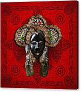 Dan Dean-gle Mask Of The Ivory Coast And Liberia On Red Leather Canvas Print