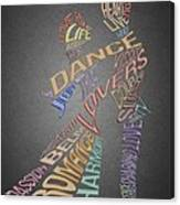 Dance Lovers Silhouettes Typography Canvas Print