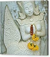 Dancing Aspara At Temple Of The Dawn/wat Arun In Bangkok-thailan Canvas Print