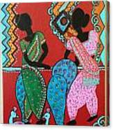 Dancing Girls - Folk Art  Canvas Print