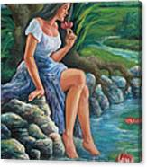 daragang magayon -beautiful lady in Mayon Canvas Print