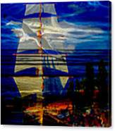 Dark Moonlight With Sails And Seagull Canvas Print