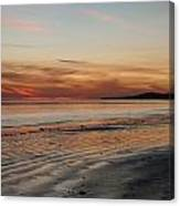 Dark Red Beach Sunset Canvas Print