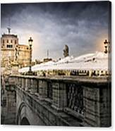 Dark Winter Evening At Castel Sant'angelo - Rome Canvas Print