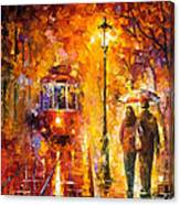 Date By The Trolley - Palette Knife Oil Painting On Canvas By Leonid Afremov Canvas Print