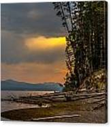 Dawn On Yellowstone Lake Shore Canvas Print