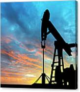 Dawn Over Petroleum Pump Canvas Print