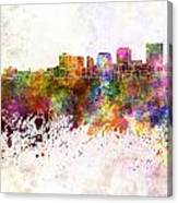Dayton Skyline In Watercolor Background Canvas Print