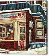 De Bullion Street Depanneur Kik Cola Montreal Streetscenes Canvas Print