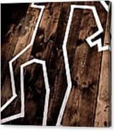 Dead Man Outline On Floor Canvas Print