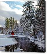 December Afternoon At The Red Boathouse Canvas Print