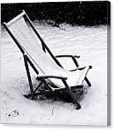 Deck Chair Under The Snow Canvas Print
