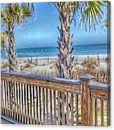 Deck On The Beach Canvas Print