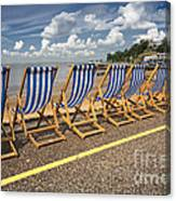 Deckchairs At Southend Canvas Print