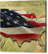 Decorative Map - Usa Canvas Print
