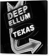 Deep Ellum Black And White Canvas Print