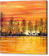 Deer At Sunset Canvas Print