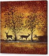 Deer At Sunset On Damask Canvas Print