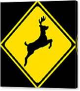 Deer Crossing Sign Canvas Print