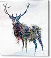 Deer In Watercolor Canvas Print